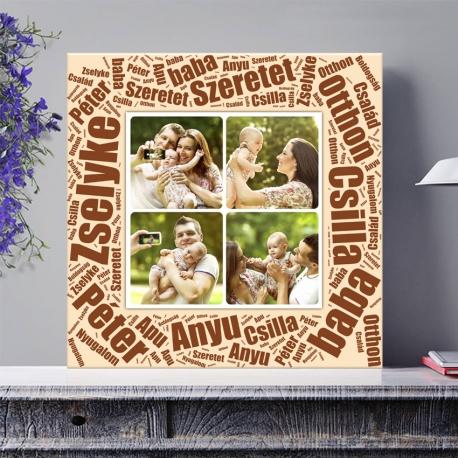 Egyedi - Fénykép kollázs poszter 2x2 szöveggel (2cm-es vakráma kerettel)