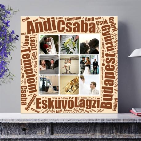Egyedi - Fénykép kollázs poszter 3x3 szöveggel (2cm-es vakráma kerettel)