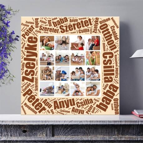 Egyedi - Fénykép kollázs poszter 4x4 szöveggel (2cm-es vakráma kerettel)