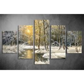 Többrészes Téli erdő poszter 010 - (választható formák)